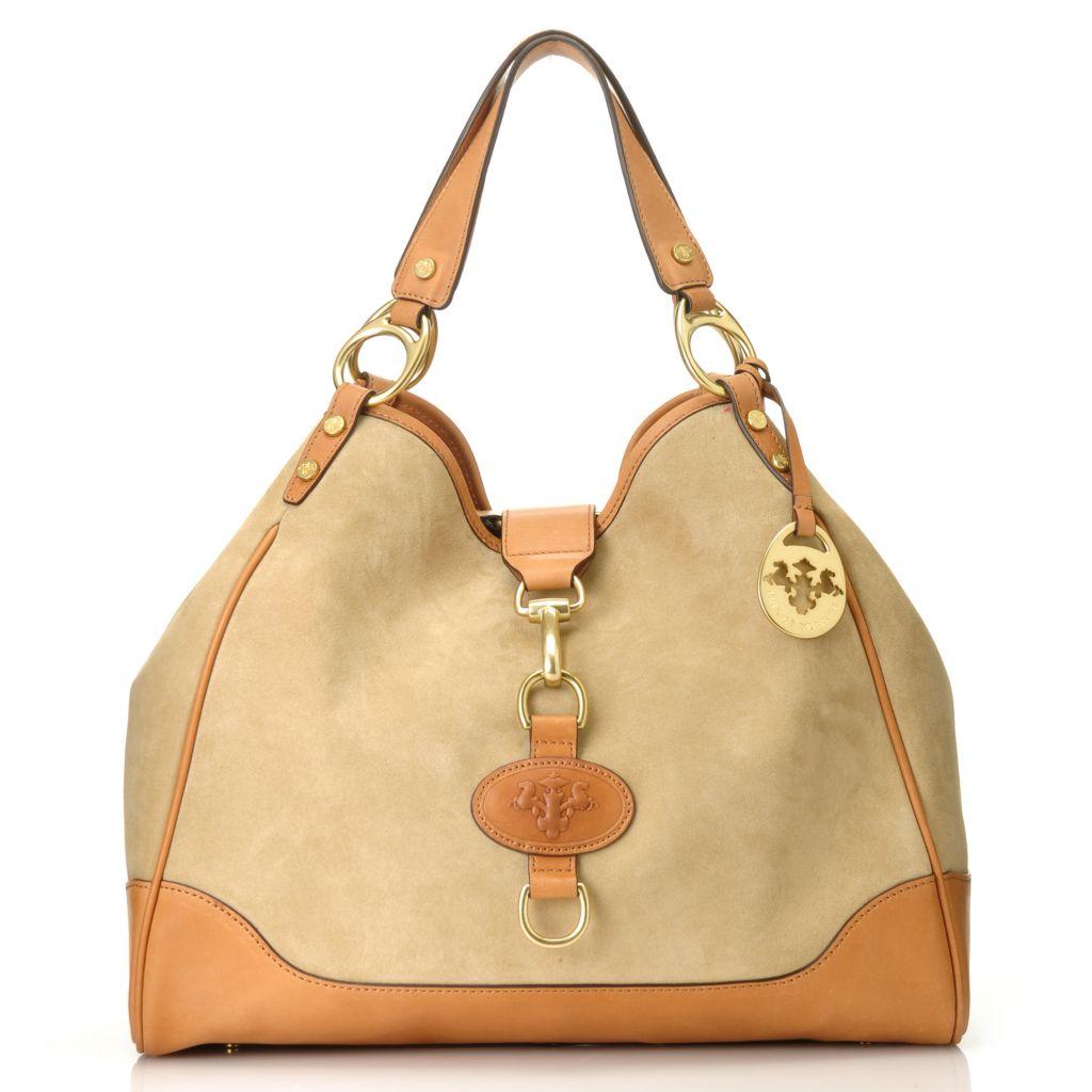 714-604 - PRIX DE DRESSAGE Suede Leather Double Handle Hobo Handbag w/ Shoulder Strap
