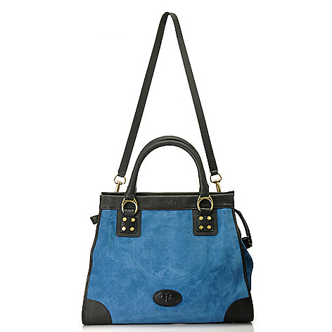 714-605 - PRIX DE DRESSAGE Suede Leather Double Handle North-South Shopper Tote Bag