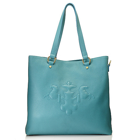 714-606 - PRIX DE DRESSAGE Pebbled Leather North-South Tote Bag w/ Shoulder Strap