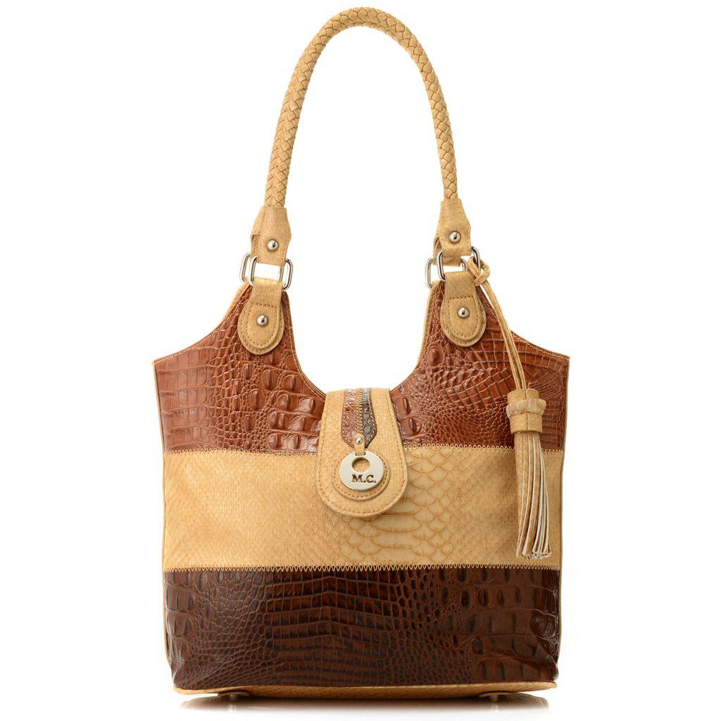 714-607 - Madi Claire Croco & Python Embossed Color Block Shopper Tote Bag