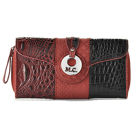 714-608 - Madi Claire Croco & Python Embossed Flap-over & Zip Around Color Block Wallet