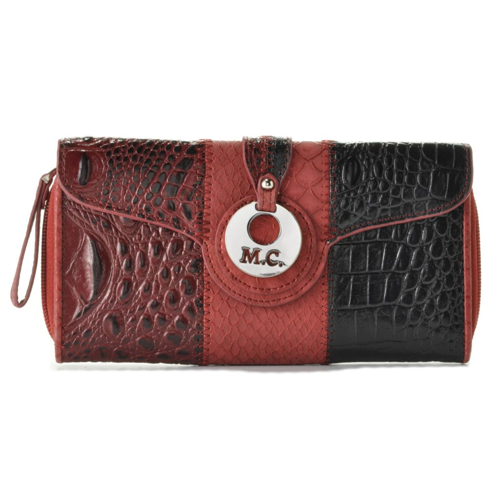 714-608 - Madi Claire Croco & Python Embossed Flap Over & Zip Around Color Block Wallet