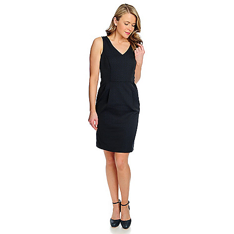 714-612 - Brooks Brothers® Textured Woven Fully Lined Sleeveless V-Neck Shift Dress