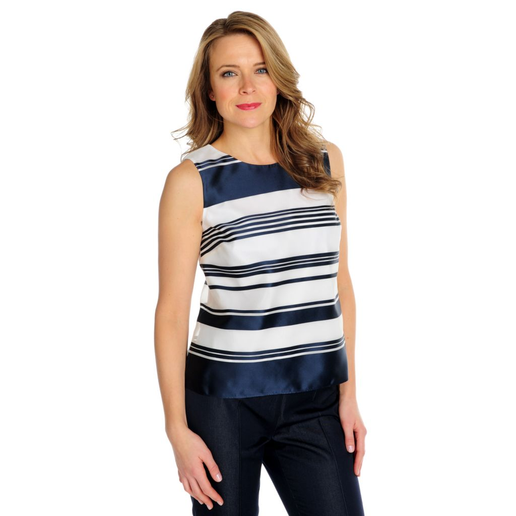 714-614 - Brooks Brothers® 100% Silk Sleeveless Shadow Striped Fully Lined Blouse
