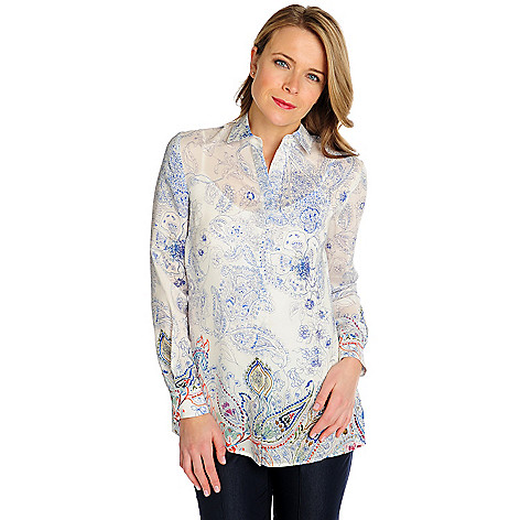 714-615 - Brooks Brothers® 100% Silk Long Sleeved Paisley Printed Blouse w/ Tank Top