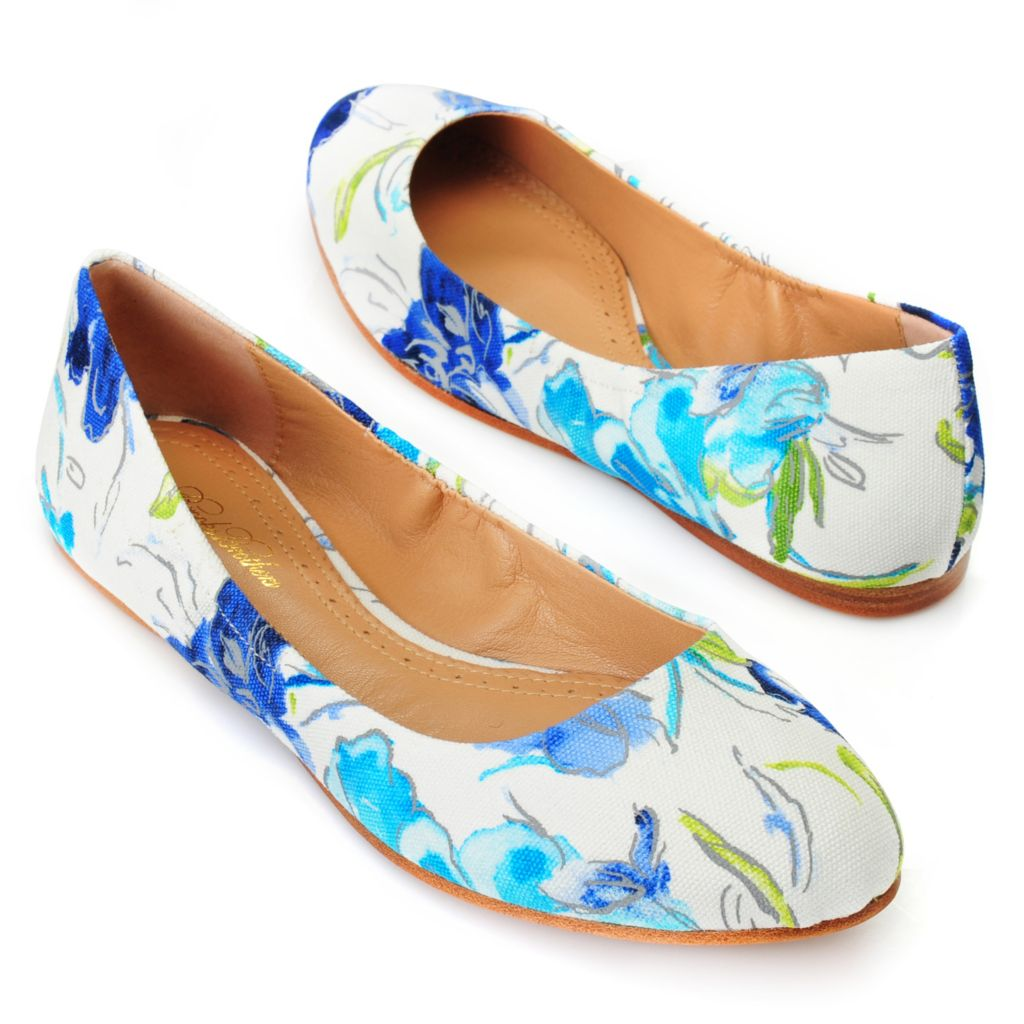 714-619 - Brooks Brothers® Printed Canvas Floral Design Ballet Flats