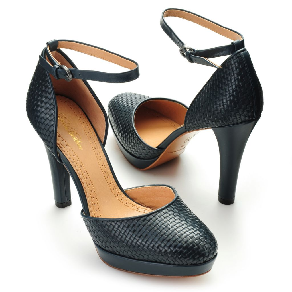 714-620 - Brooks Brothers® Woven Calfskin Leather Ankle Strap Heels