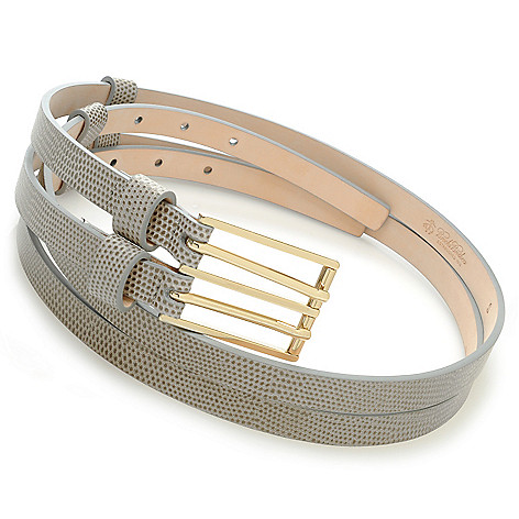 714-621 - Brooks Brothers Lizard Embossed Leather Double Strap Belt