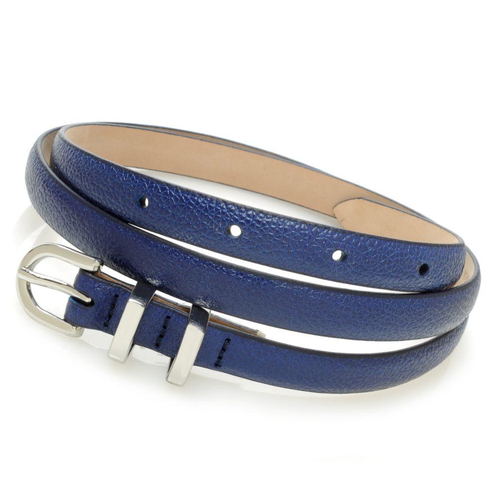 714-622 - Brooks Brothers® Grained Leather Double Loop Skinny Belt