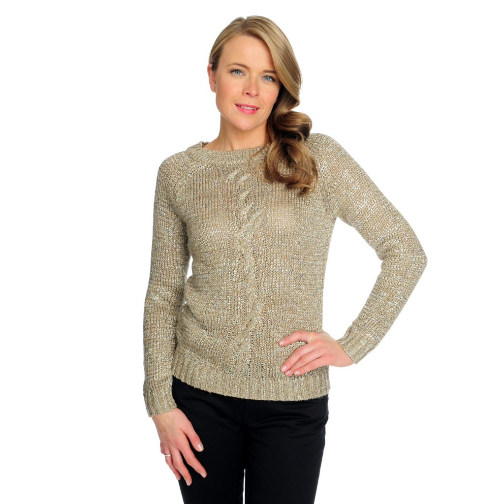 714-627 - Brooks Brothers® Raglan Sleeved Metallic Cable Knit Detailed Sweater