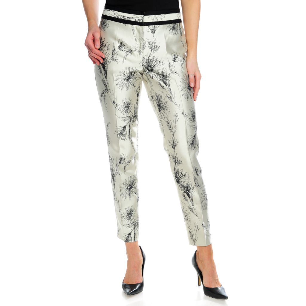714-633 - Brooks Brothers® Silk Woven Full Length Slim Leg Printed Pants