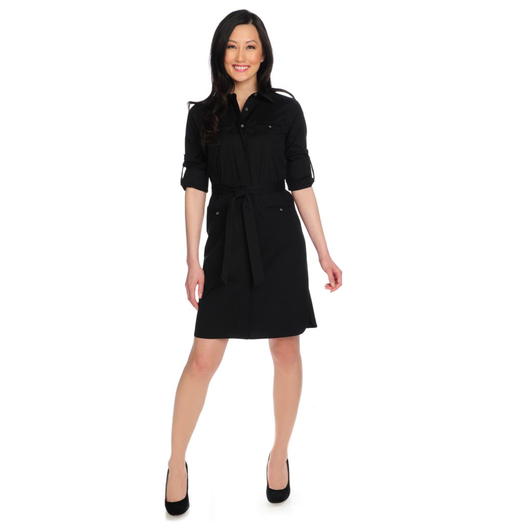 714-634 - Brooks Brothers® Cotton Woven Roll Tab Sleeved Button Front Shirt Dress