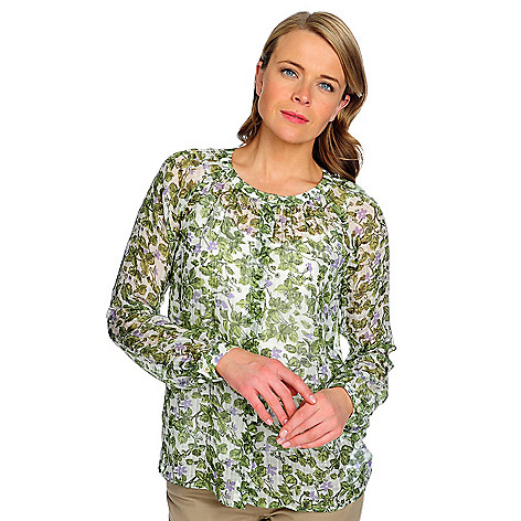 714-635 - Brooks Brothers® Silk Blend Long Sleeved Printed Blouse w/ Silk Cami
