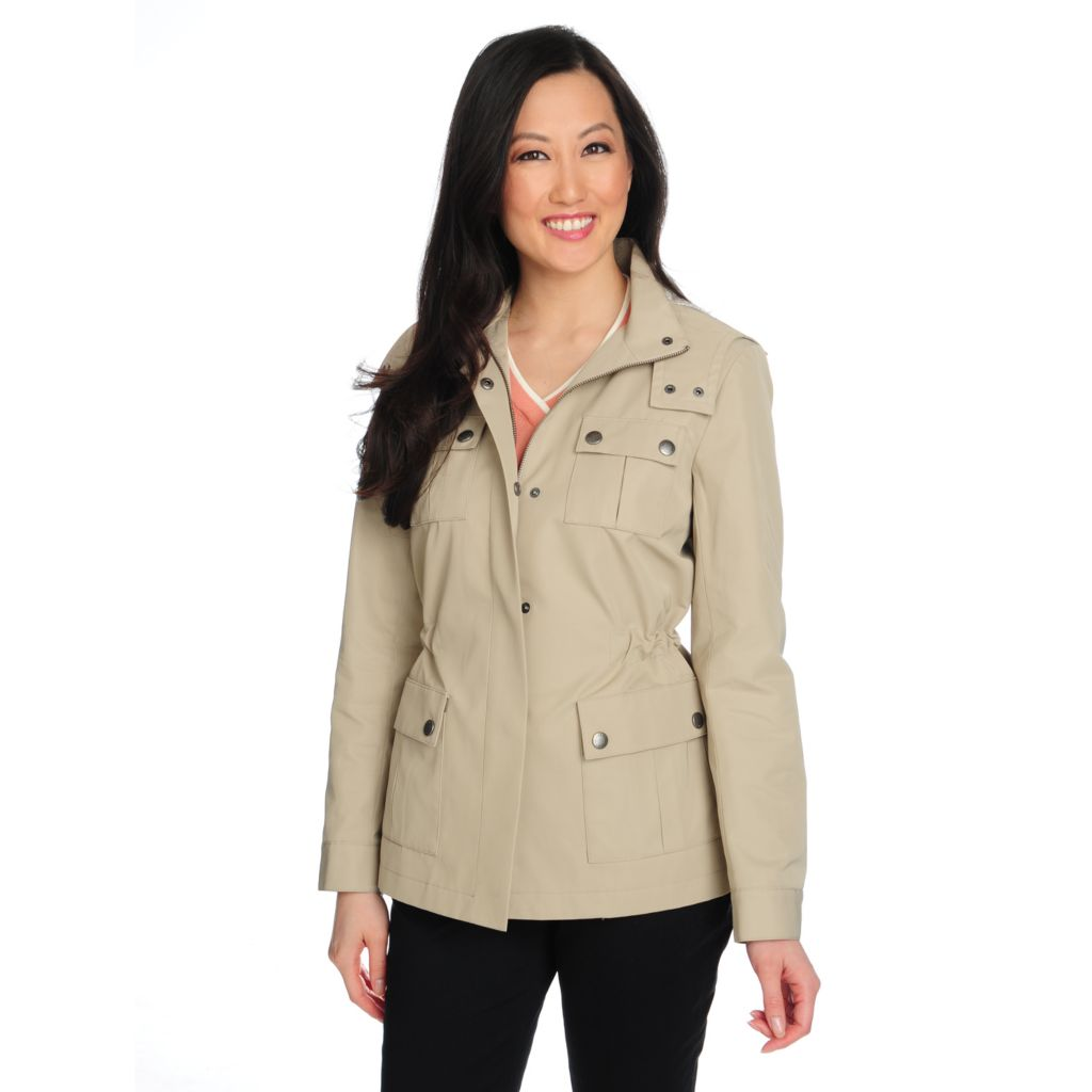 714-637 - Brooks Brothers® Snap Closure Cinched Waist Removable Hood Safari Jacket