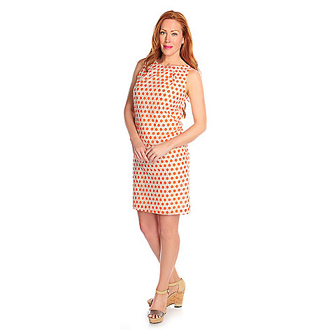 714-641 - Brooks Brothers® Cotton & Silk Sleeveless Geometric Printed Shift Dress