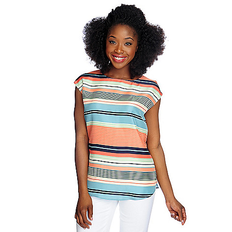 714-643 - Brooks Brothers® 100% Silk Sleeveless Variegated Stripe Crew Neck Blouse