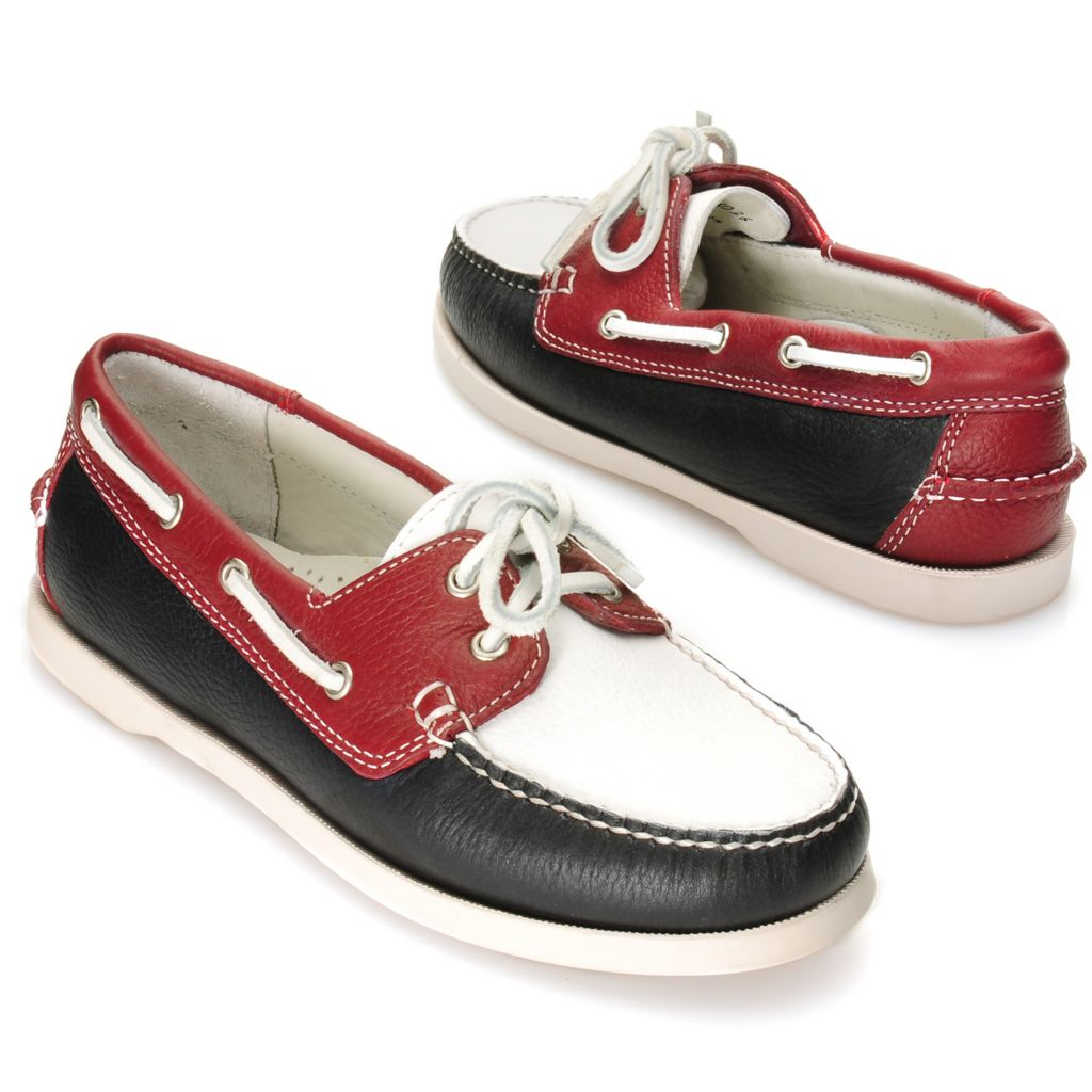 714-648 - Brooks Brothers® Tumbled Leather Color Block Boat Shoes