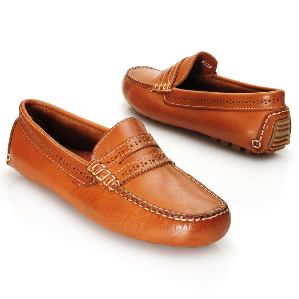 714-650 - Brooks Brothers® Burnished & Perforated Leather Slip-on Driving Penny Loafers