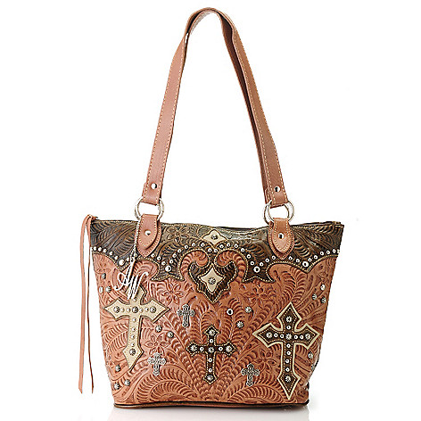 714-656 - American West Hand-Tooled Leather Studded Cross Zip Top Tote Bag