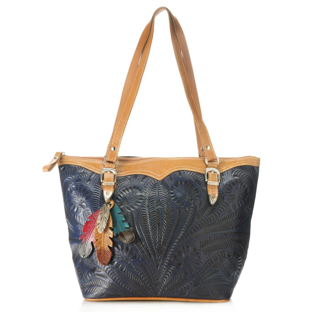 714-657 - American West Hand-Tooled Leather Tote Bag w/ Feather Keepsake