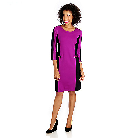 714-658 - Love, Carson by Carson Kressley Ponte Knit 3/4 Sleeved Color Block Dress