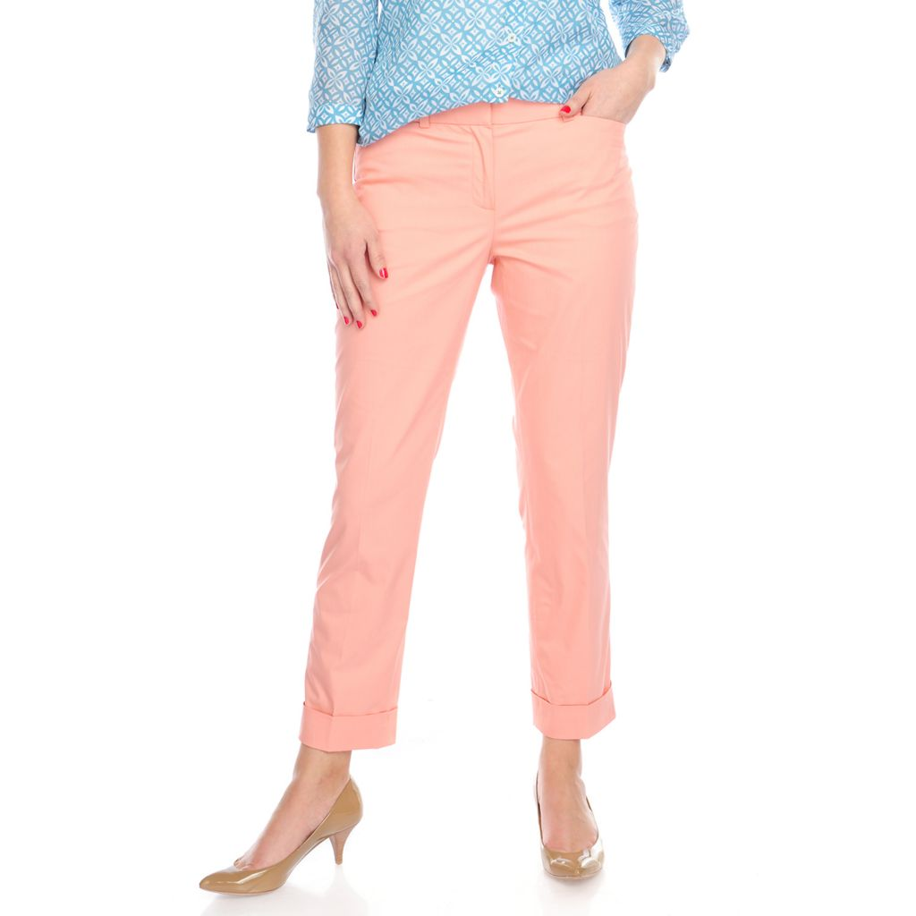 714-659 - Brooks Brothers® Stretch Cotton Ankle Length Tapered Leg Cuffed Pants