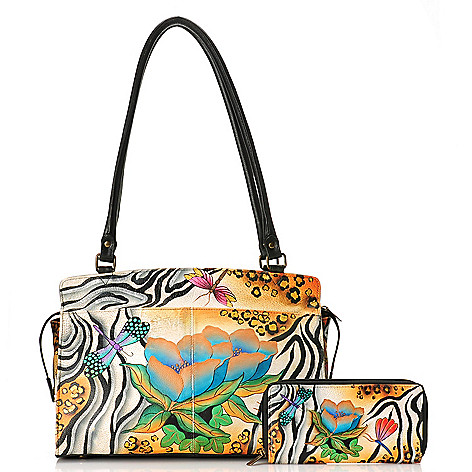 714-661 - Anuschka Hand-Painted Leather Zip Top Organizer Satchel w/ Matching Wallet