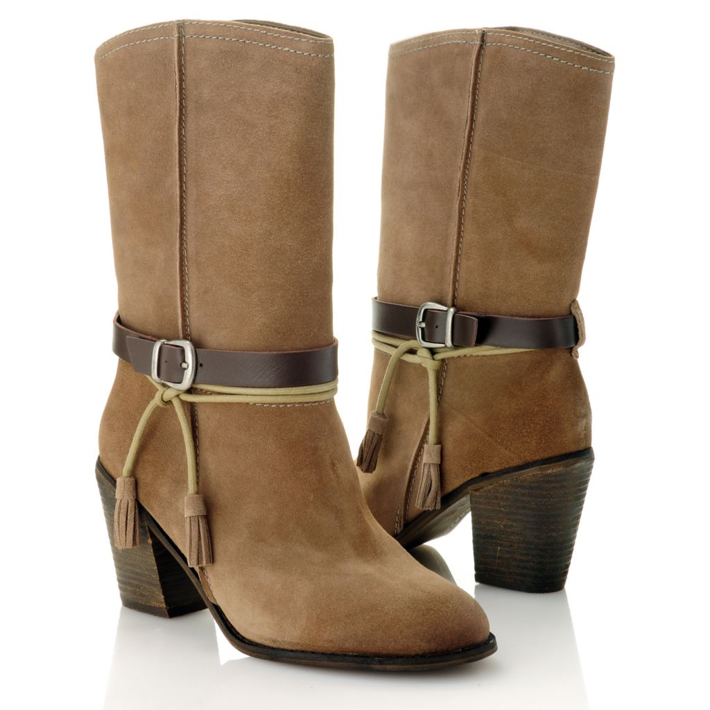 714-664 - MIA Suede Leather Tasseled Mid-Height Boots