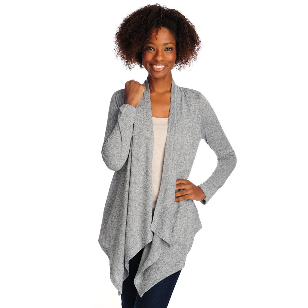 714-665 - One World Knit Long Sleeved Open Front Lace Back Cardigan
