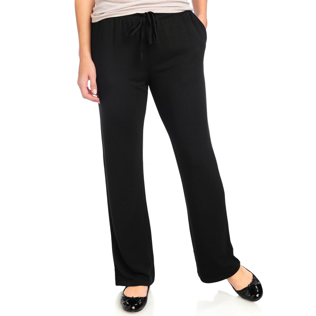 714-668 - One World Stretch Knit Straight Leg Two-Pocket Tie Waist Pant