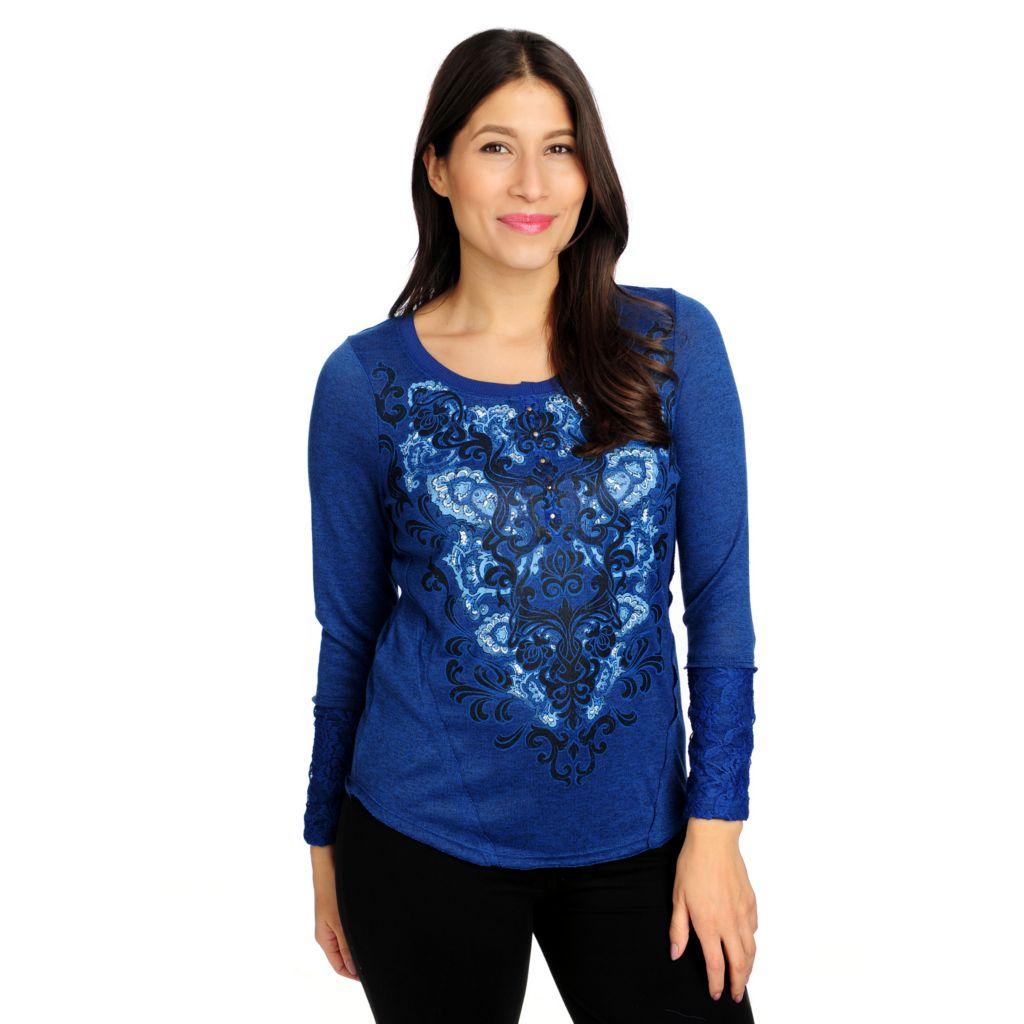714-671 - One World Sweater Knit Long Sleeved Lace Cuff Embellished Henley