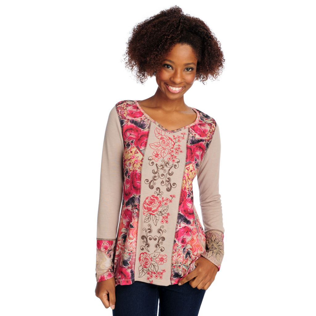 714-674 - One World Stretch Knit Long Sleeved Embroidered Detail V-Neck Top