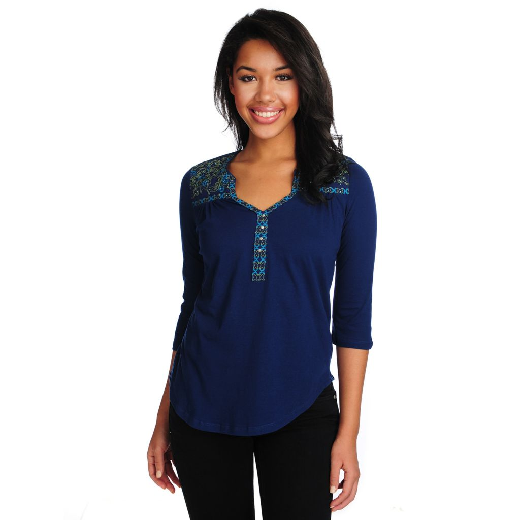714-676 - One World Stretch Knit Woven Combo 3/4 Sleeved Embroidered Top