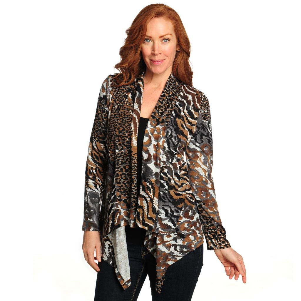 714-679 - One World Printed Knit Long Sleeved Open Front Cascade Cardigan