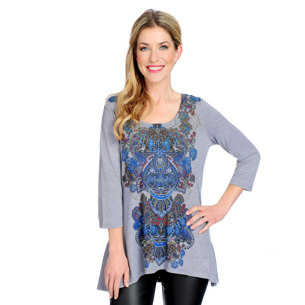 714-680 - One World Heathered Knit 3/4 Sleeved Embellished Neck Hi-Lo Top