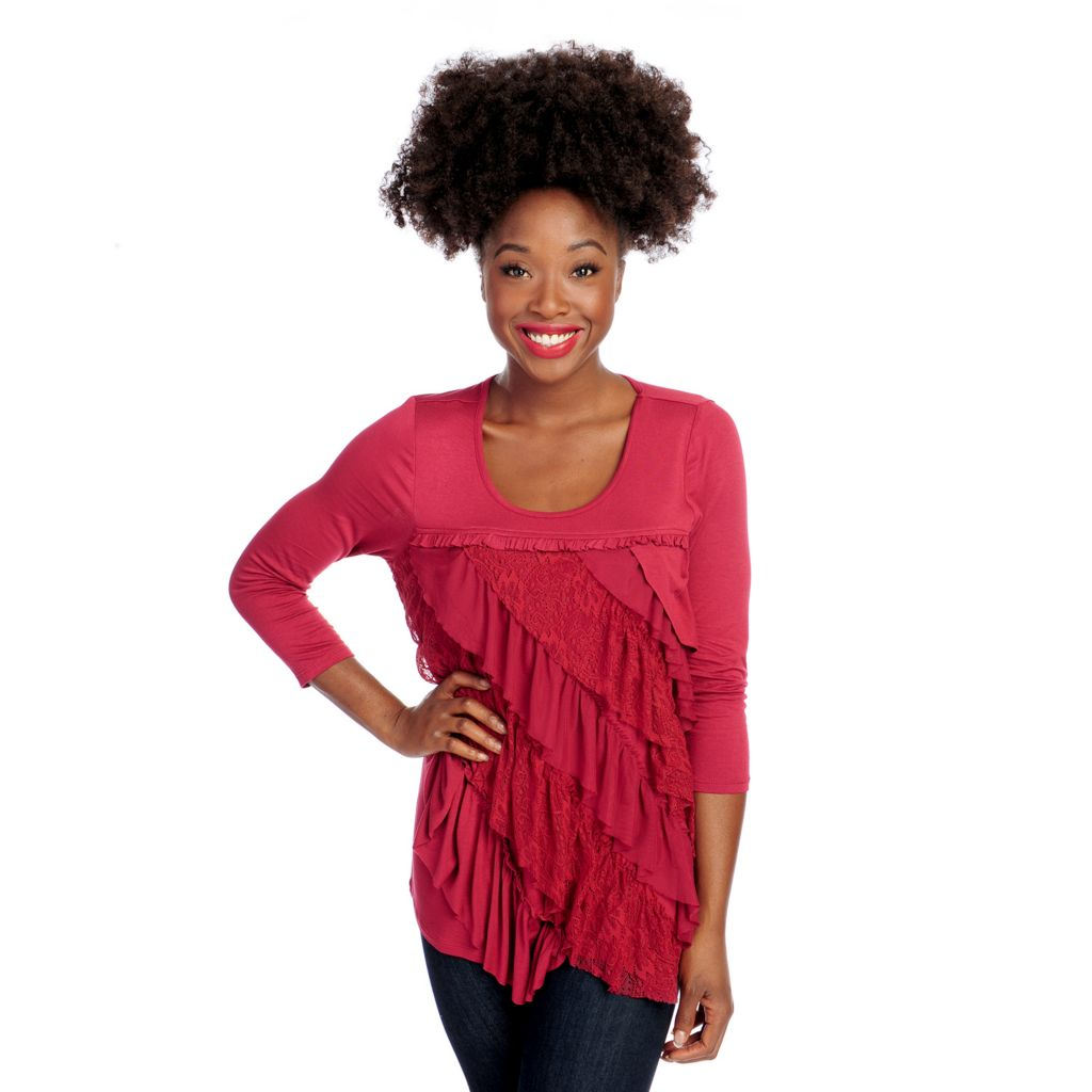 714-681 - One World Stretch Knit 3/4 Sleeved Ruffle Front Scoop Neck Top