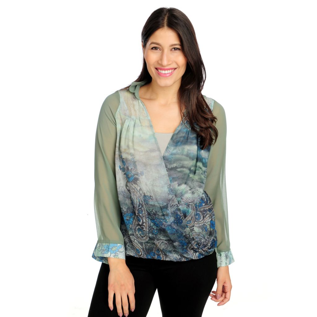714-683 - One World Printed Chiffon Stretch Knit Lined Long Sleeved Drape Front Top