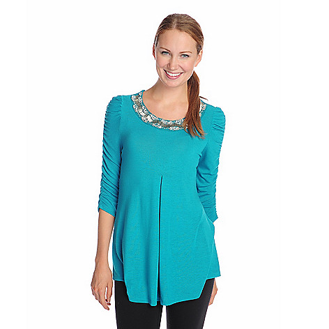 714-685 - Glitterscape® Sweater Knit Ruched Sleeve Pleated Front Embellished Top