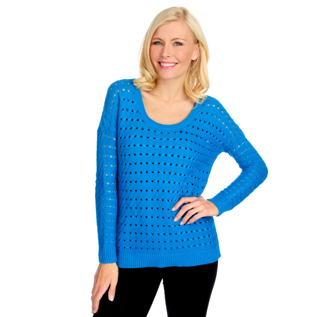 714-687 - Kate & Mallory Open Knit Drop Shoulder Side Vent Hi-Lo Sweater