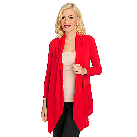 714-688 - Kate & Mallory Crepe Knit Long Sleeved Open Front Cardigan Sweater