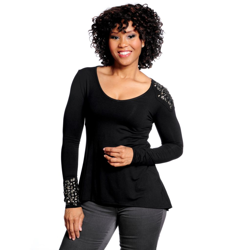 714-690 - Kate & Mallory Stretch Knit Long Sleeved Beaded Detail Hi-Lo Top
