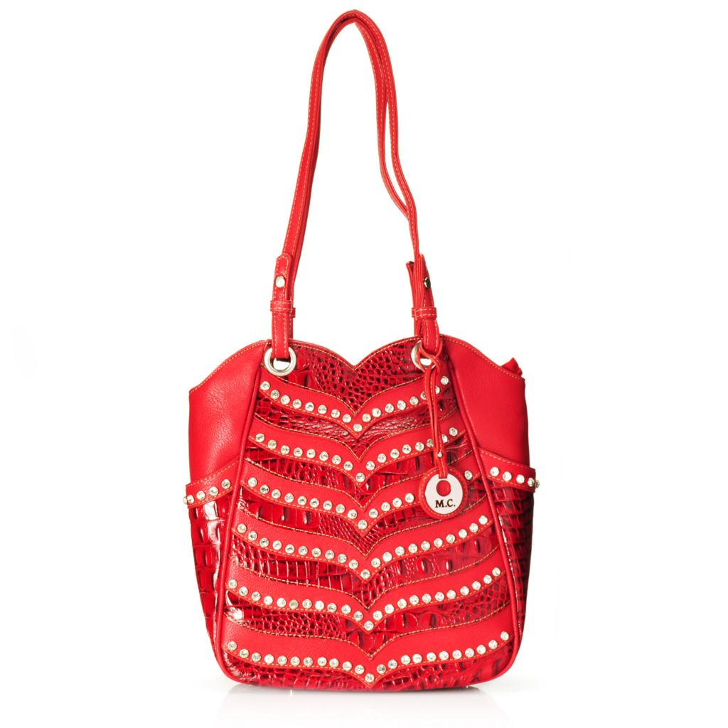 714-693 - Madi Claire Croco Embossed Leather Rhinestone Embellished Tote Bag