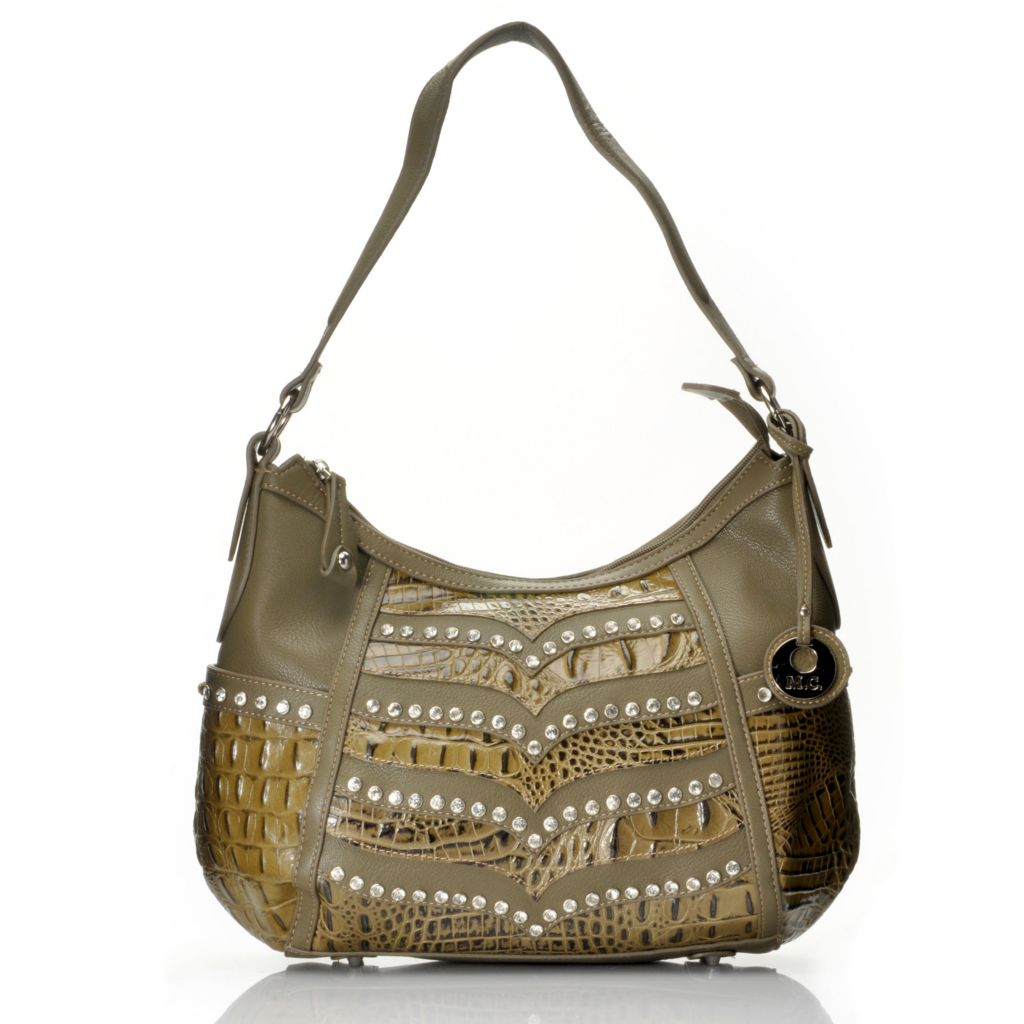 714-694 - Madi Claire Croco Embossed Leather Rhinestone Embellished Hobo Handbag