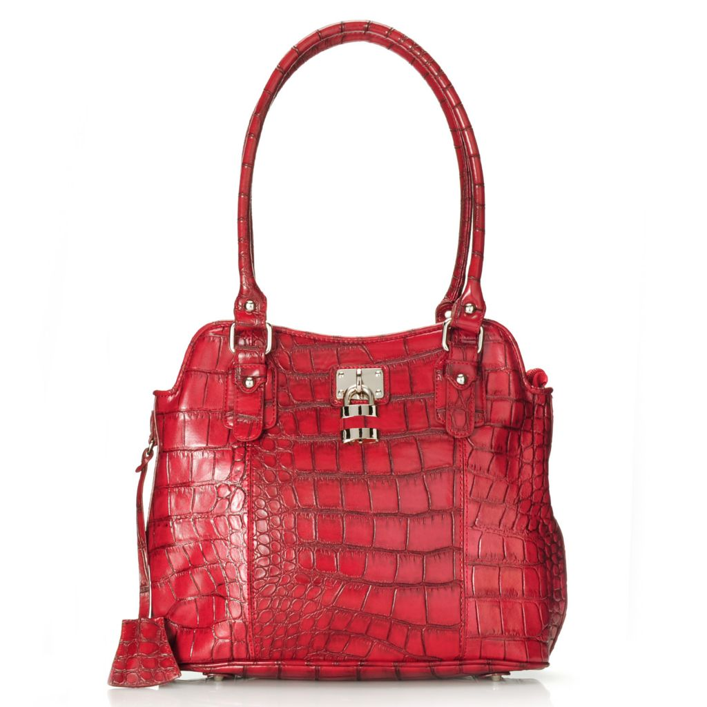 714-697 - Madi Claire Croco Embossed Leather Zip Top Double Handle Shopper Tote Bag