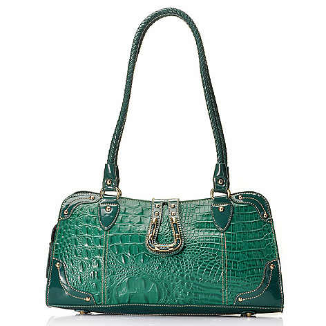 714-698 - Madi Claire Croco Embossed Leather Double Woven Handle East-West Satchel