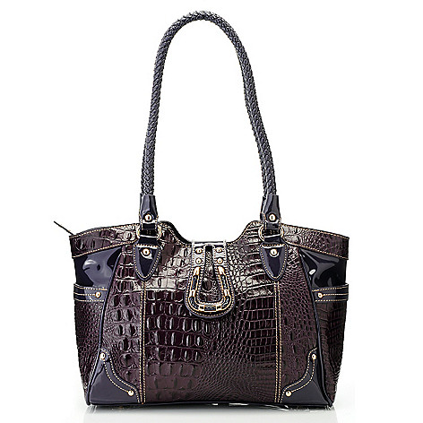 714-699 - Madi Claire Croco Embossed Leather Flap Over Double Handle Shopper Tote Bag