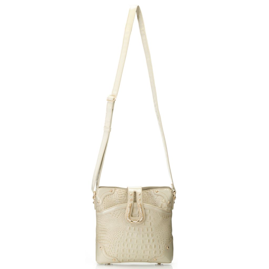 714-700 - Madi Claire Croco Embossed Leather Flap Over Cross Body Bag
