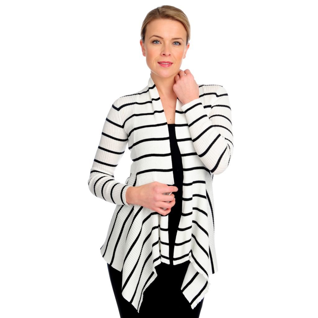 714-704 - OSO Casuals Rib Knit Long Sleeved Rolled Neck Striped Cardigan