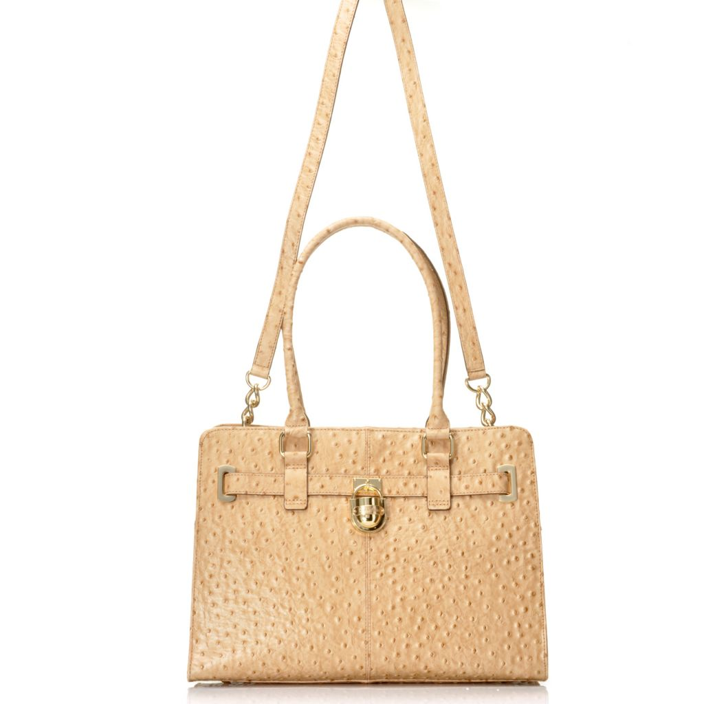 714-728 - Calvin Klein Handbags Ostrich Leather Convertible Satchel