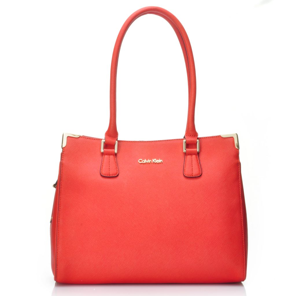 714-738 - Calvin Klein Handbags Saffiano Leather North-South Satchel